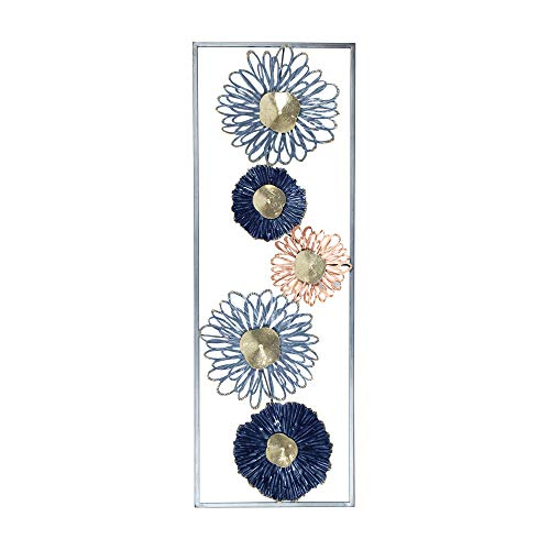 Vidal Regalos Adorno Decorativo Pared Flores Azules Metal 90 cm